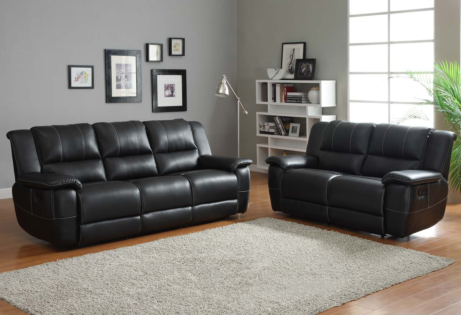 Homelegance cantrell reclining sofa set black bonded for Drawing room furniture set