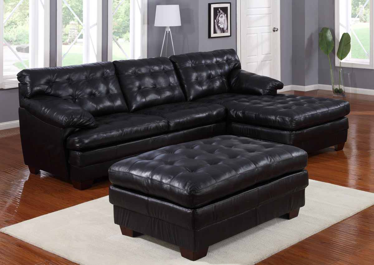 Homelegance 9817 All Leather Sectional Sofa Set Black U9817blk