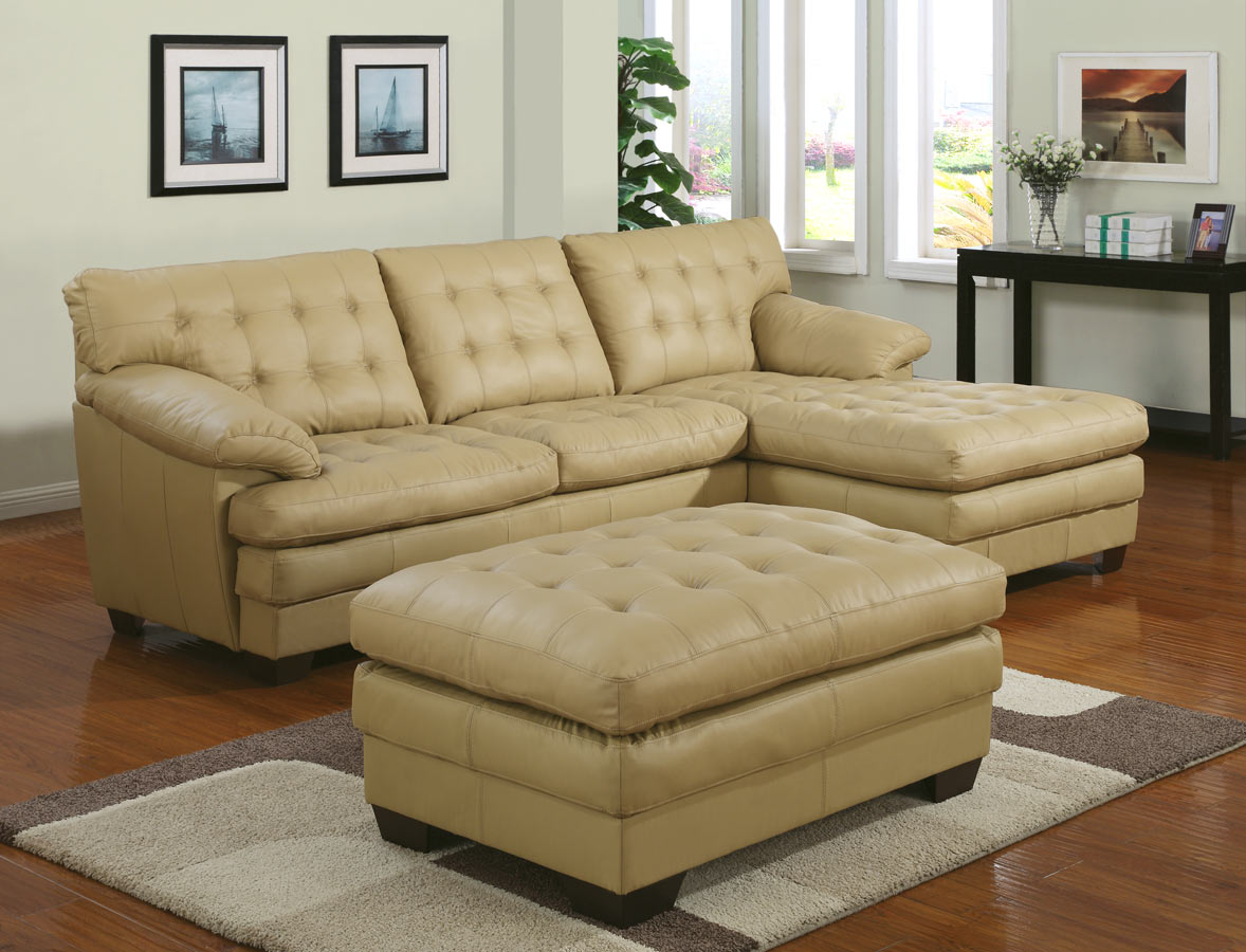 9817 All Leather Sectional Sofa Set - Taupe - Homelegance