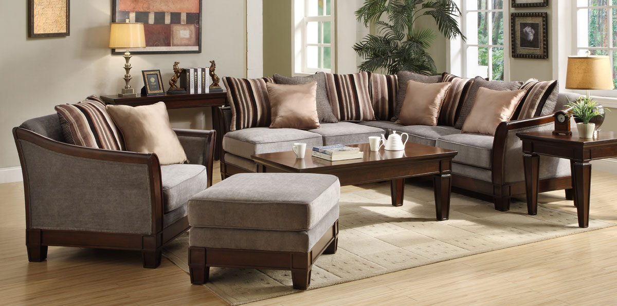 Trenton Sectional Sofa Set - Velvet - Homelegance