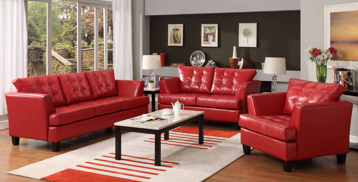 Della All Bonded Leather Love Seat - Red - Homelegance