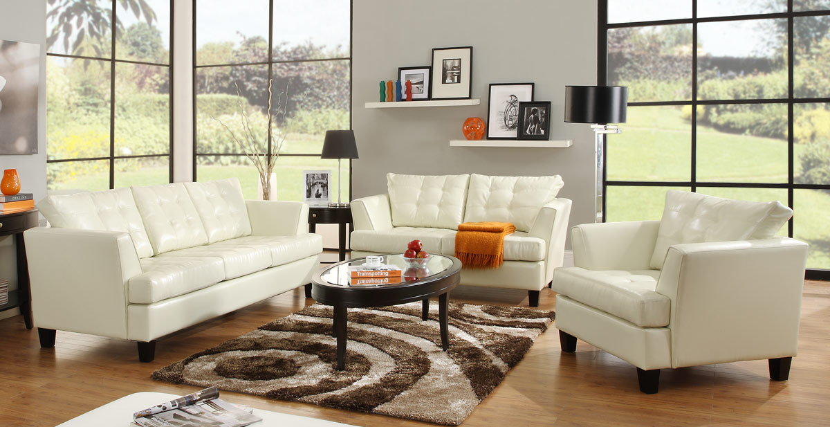 Bonded leather sofa set white homelegance u9994wht living room