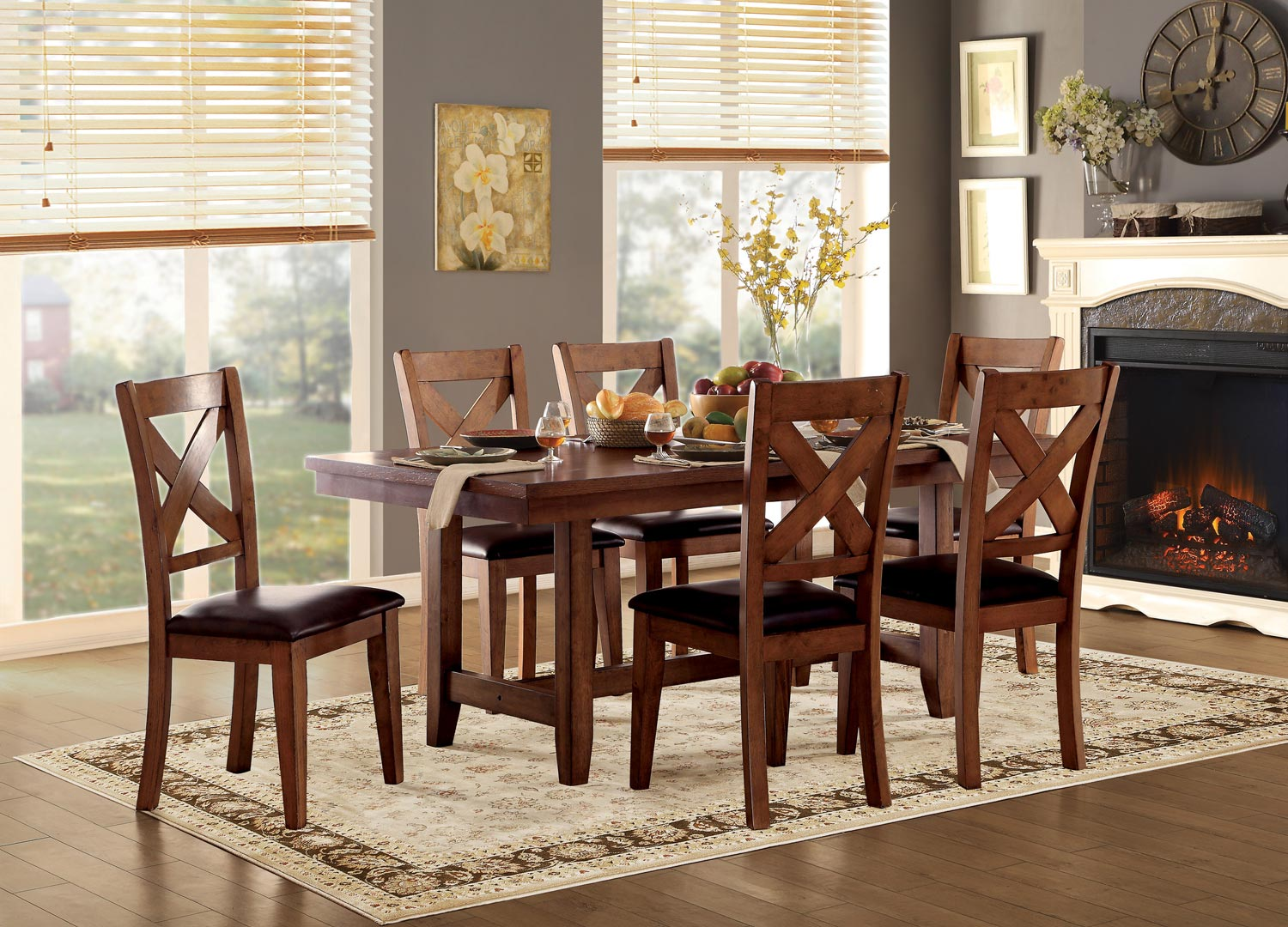Homelegance Burrillville Trestle Dining Set - Oak