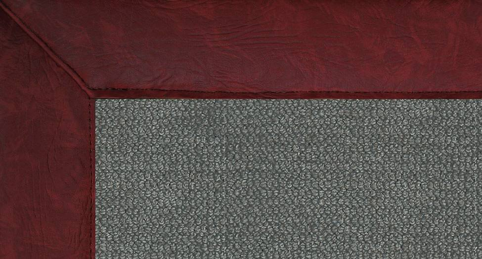 Athena - Charcoal-Burgundy Leather - Hellenic Rug