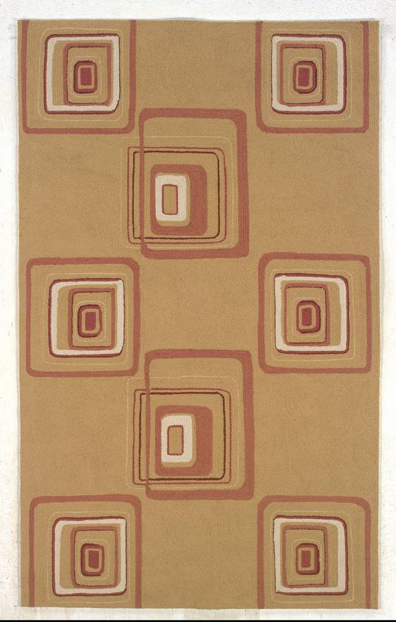 Indoor & Outdoor - Boxed In - Gold-Brick - Hellenic Rug