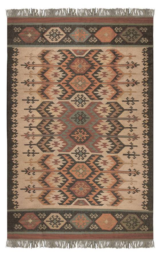 Antique Kilim - Andes - Charcoal-Honey Gold - Hellenic Rug