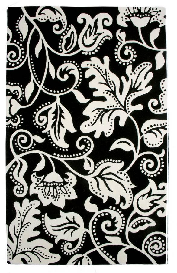 New Age - Tendrils - Black-White - Hellenic Rug
