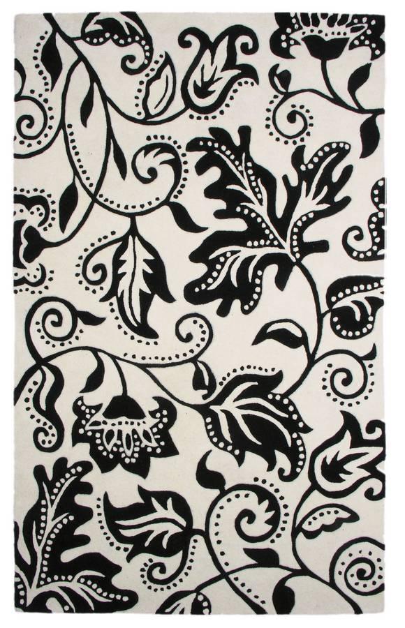 New Age - Tendrils - White-Black - Hellenic Rug
