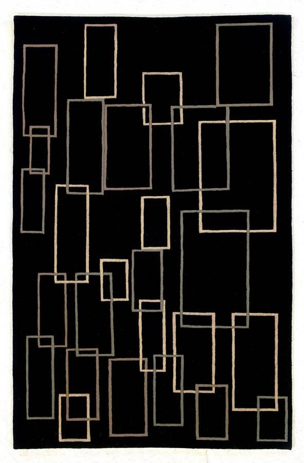 Napoli - Boxes - Black-Beige - Hellenic Rug