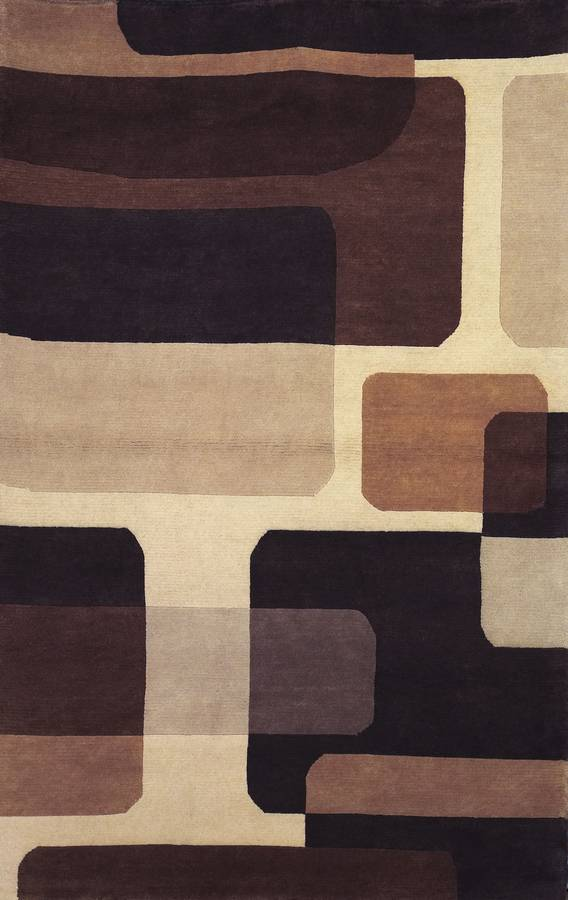 Napoli - Rounded Rectangle - Cream-Brown - Hellenic Rug