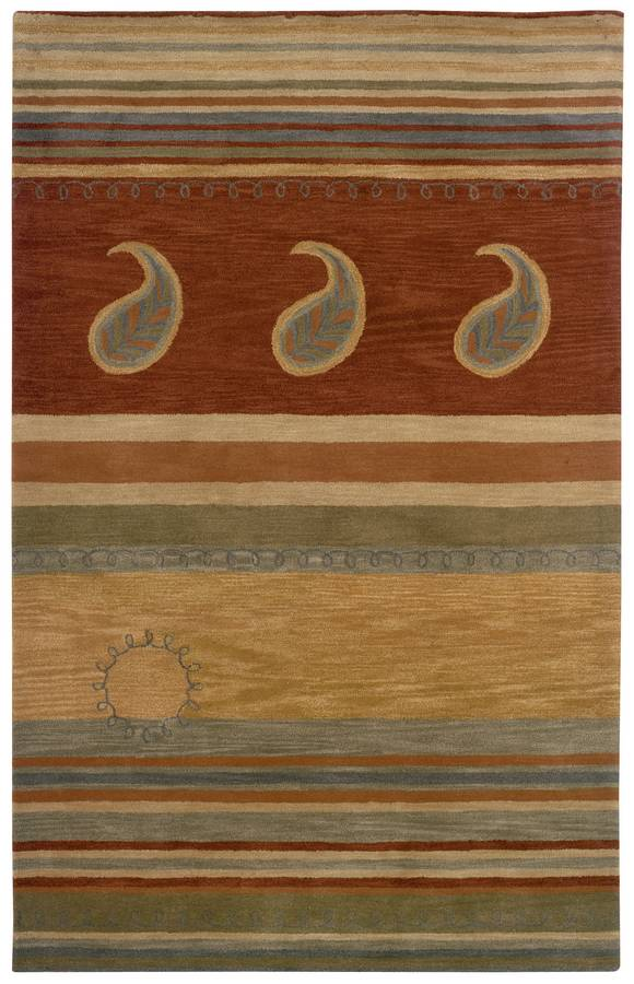 Palermo - Paisley Stripe - Rust-Brown - Hellenic Rug
