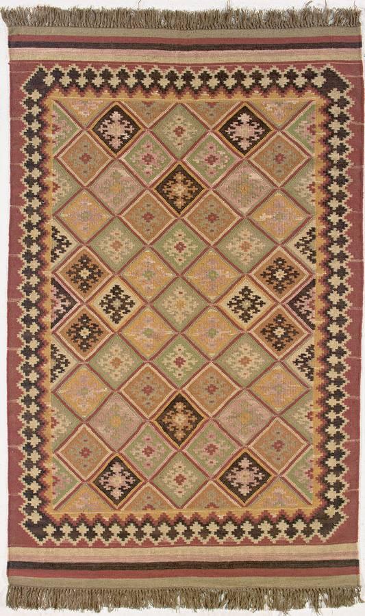 Anatolia Wool Kilims - Iona - Paprika-Charcoal - Hellenic Rug