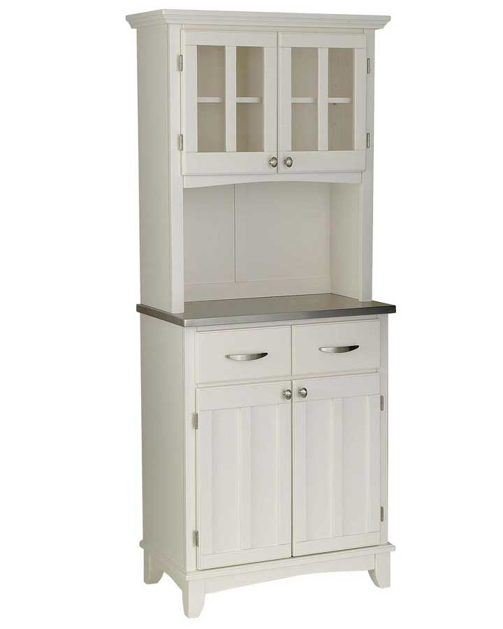 Cheap Home Styles White Stainless Steel Top Buffet with Glass Door Hutch