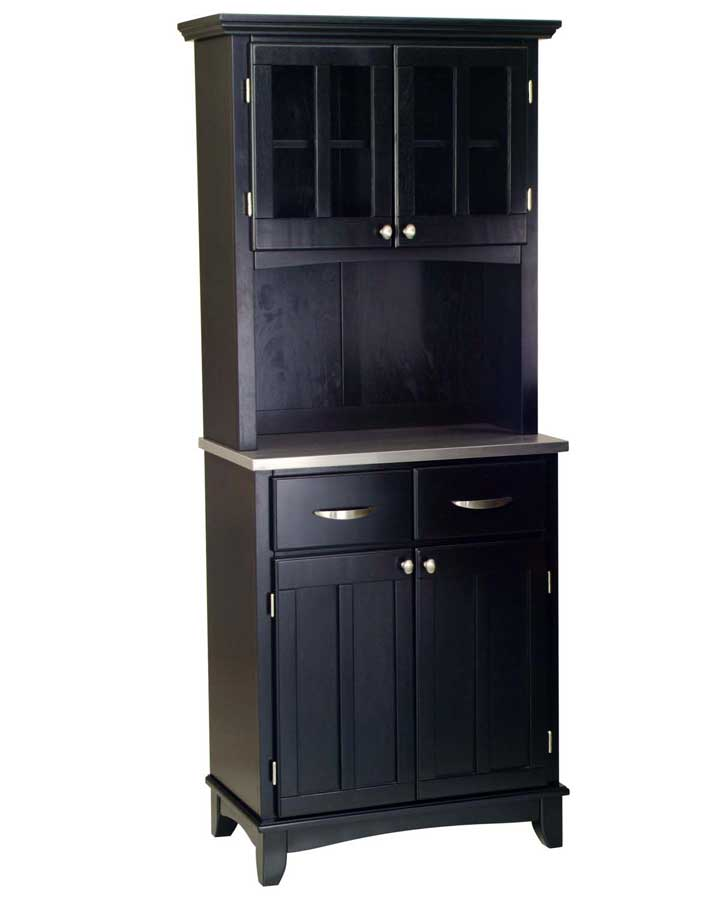 Cheap Home Styles Black-Stainless Steel Top Buffet with Glass Door Hutch
