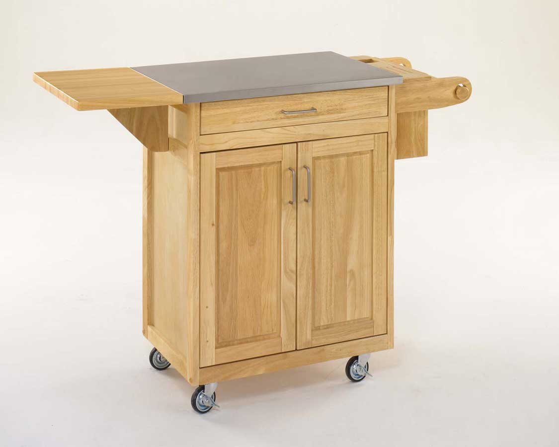 Home Styles Cuisine Kitchen Cart Natural With Stainless Steel Top