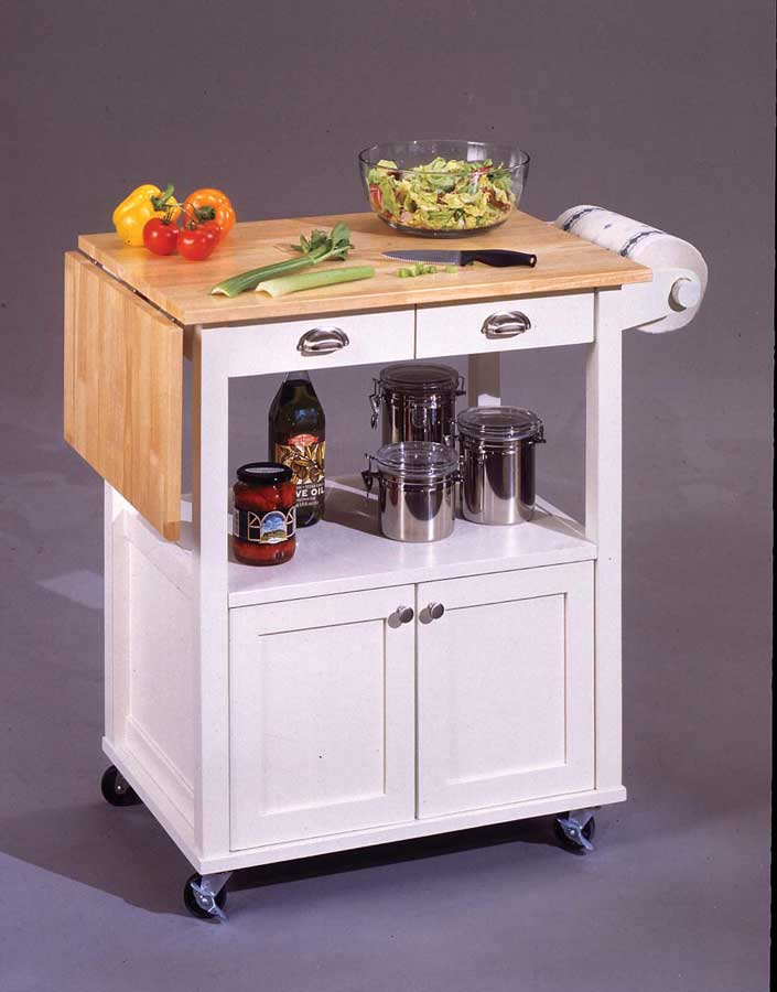 Photo of Home Styles Wood Top Kitchen Cart with Wood Drop Leaf - White (Dining Room Furniture, Dining Room Set, Kitchen Cart, Kitchen Island, Serving Cart)
