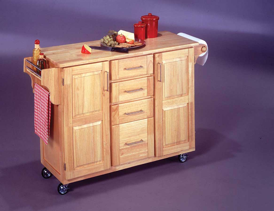 Home Styles All Wood Kitchen Cart With Wood Breakfast Bar