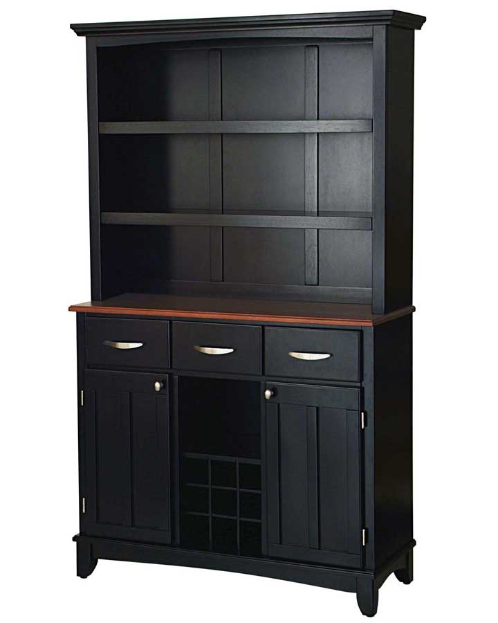 Home Styles Black Cherry Wood Top Buffet With Open Hutch