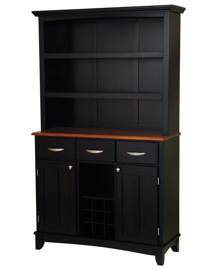 Home Styles Black-Cottage Oak Wood Top Buffet with Open ...