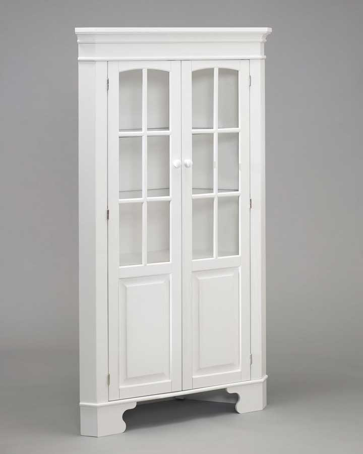 Home Styles Corner Curio Cabinet with Light - White