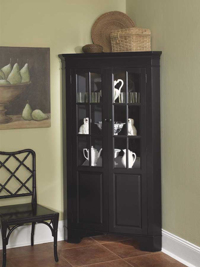 Home Styles Corner Curio Cabinet With Light Black 88