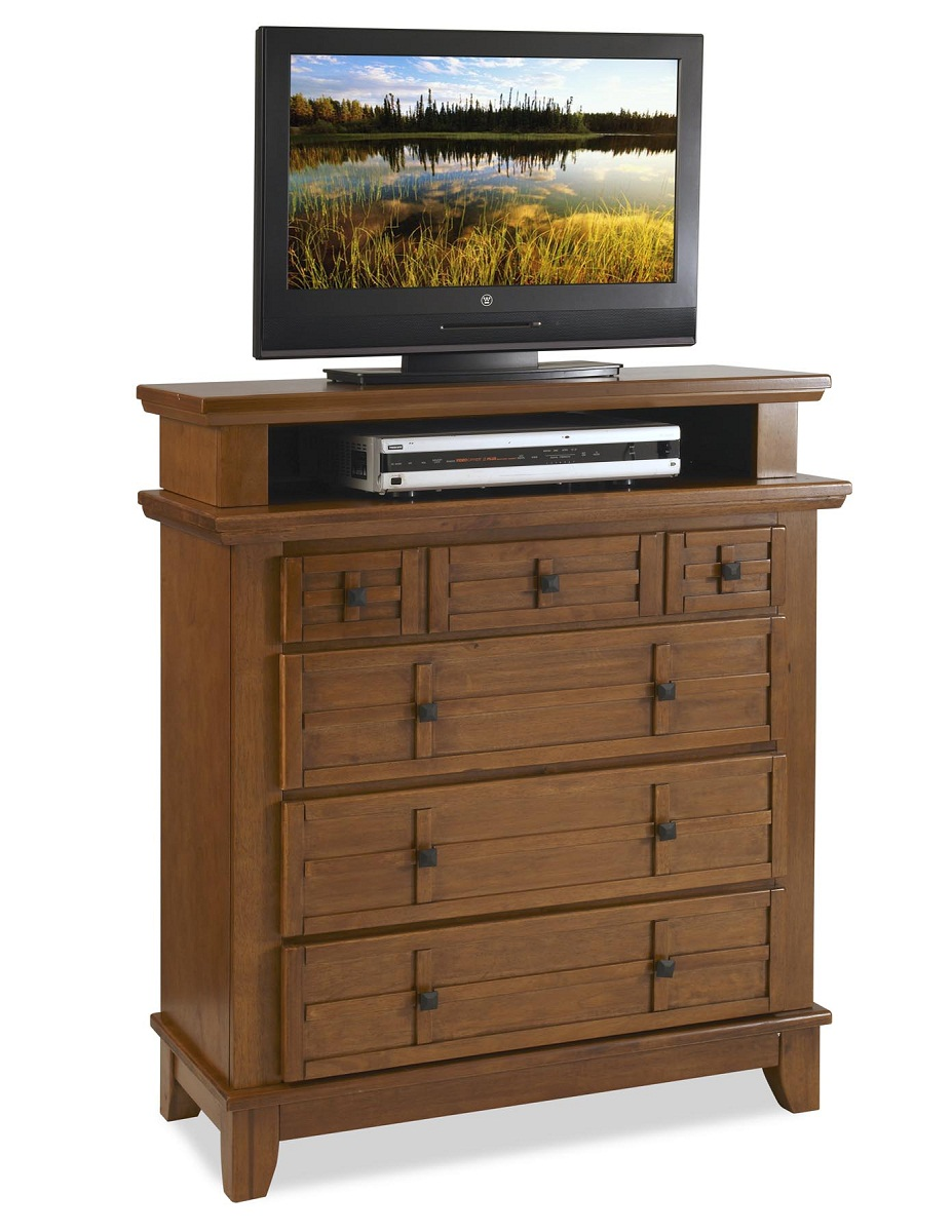 Home Styles Arts and Crafts TV Media Chest - Cottage Oak