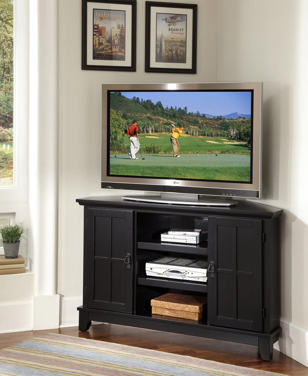 Home styles arts and crafts corner tv stand black finish cottage oak 5181 07 at homelement com