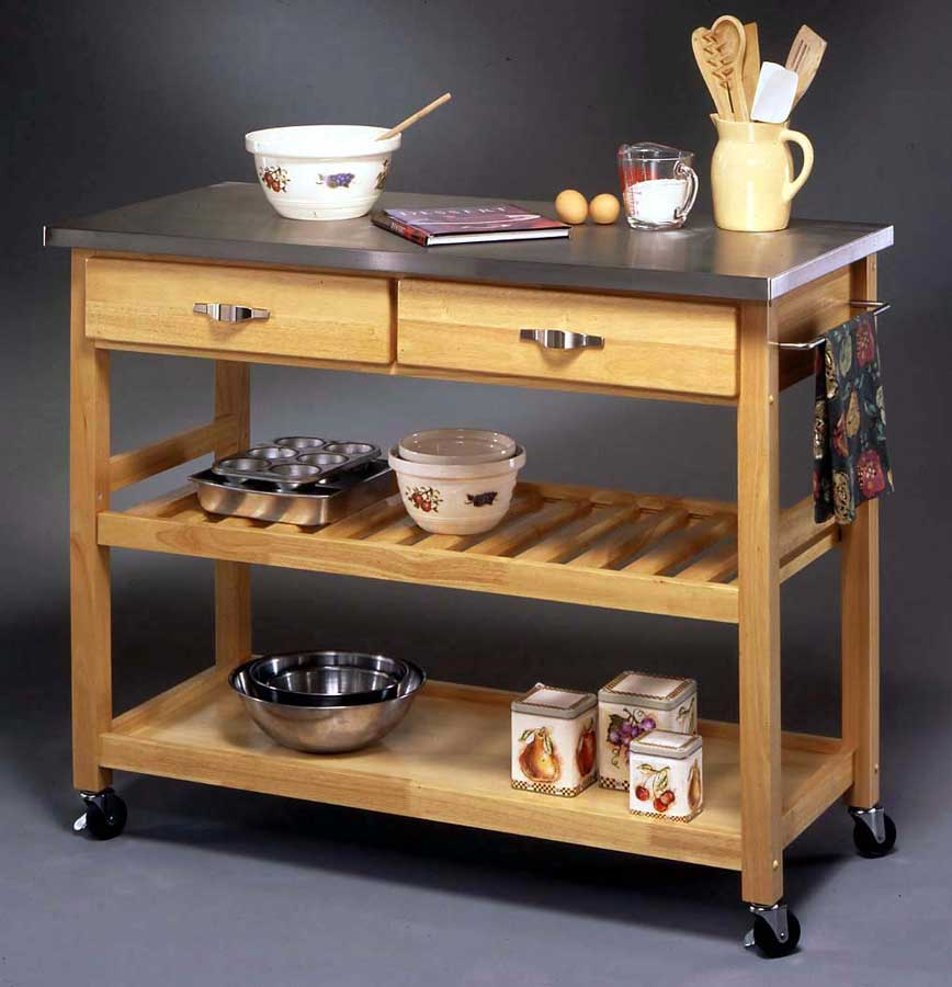 Cheap Home Styles Stainless Steel Top Kitchen Cart – Natural