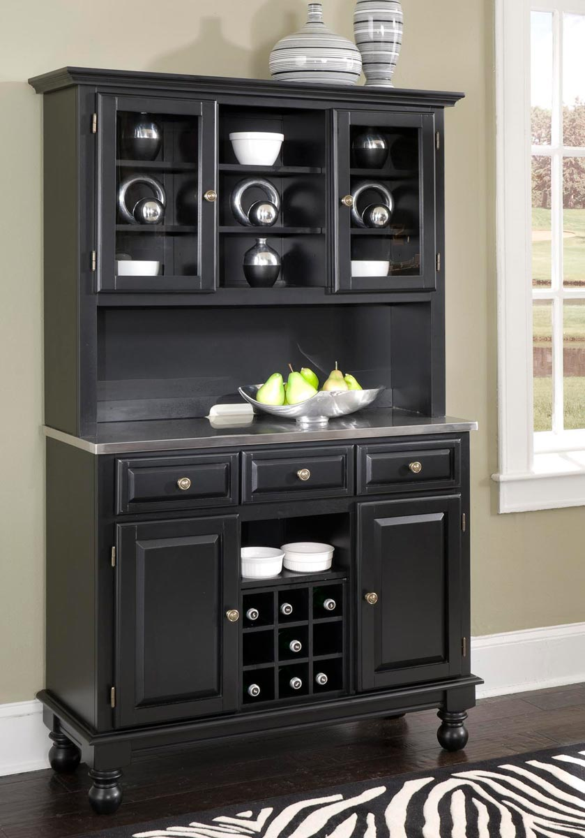 Picture of: Home Styles Premium Buffet With Stainless Top And Hutch Black 5300 0042 04 At Homelement Com