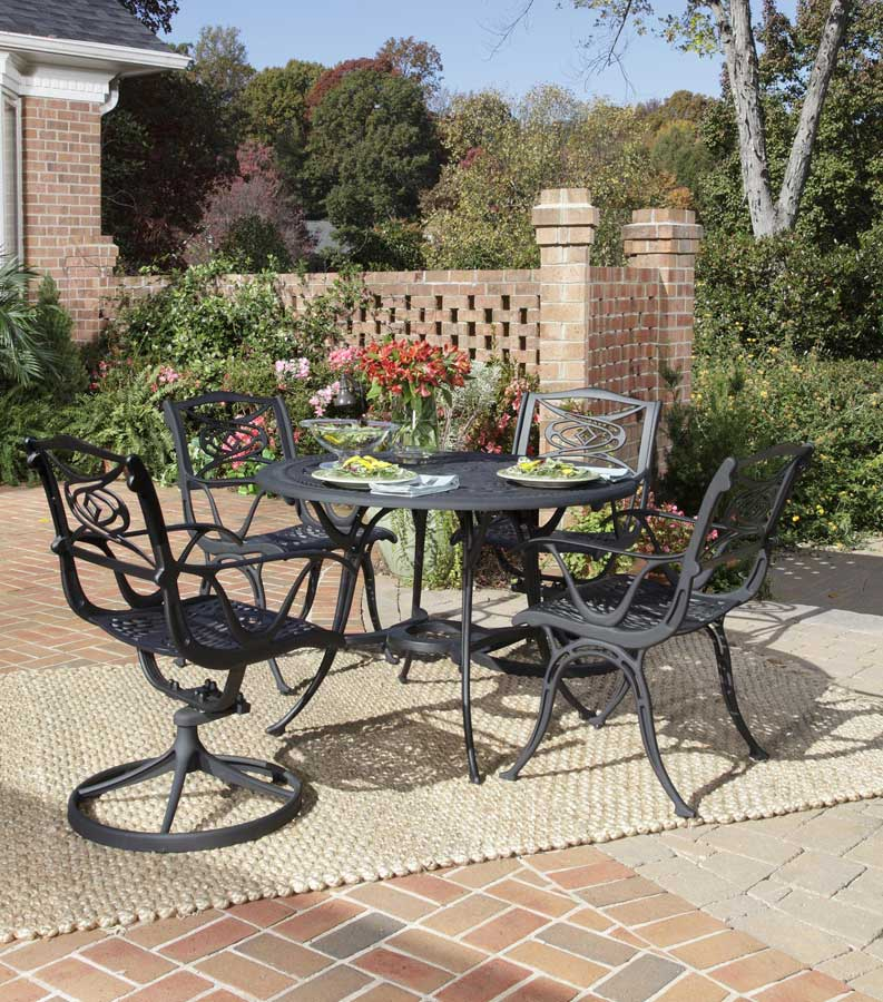 Home Styles Malibu 42 inch Round Dining Set - Black