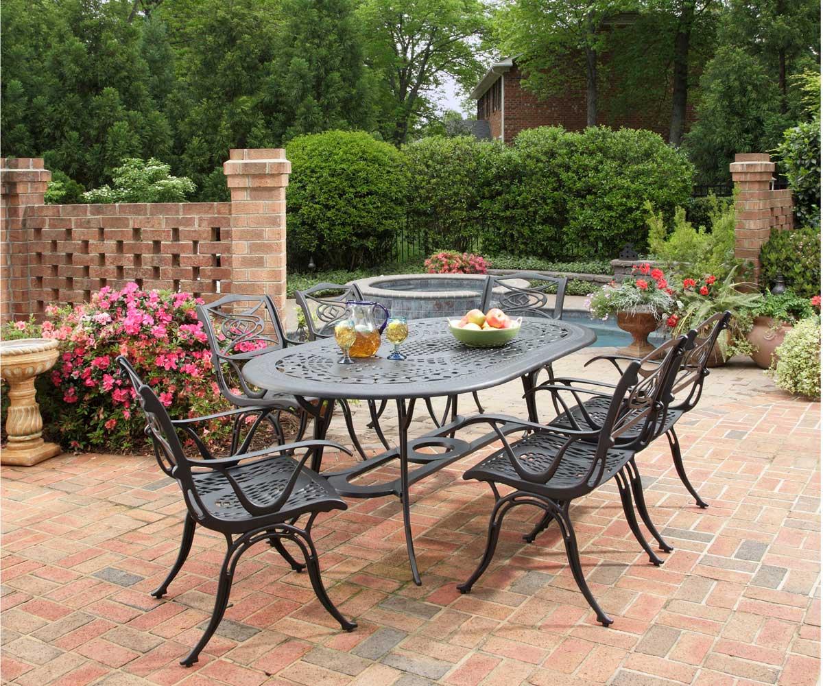 Home Styles Malibu 72 inch Oval Dining Set - Black