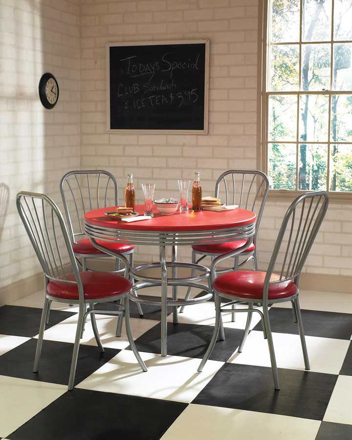 Home Styles Soda Shoppe Round Dinette Set - Red