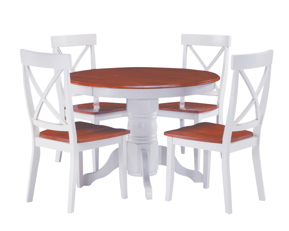 Home Styles Round Pedestal Dining Collection - White and Cottage Oak
