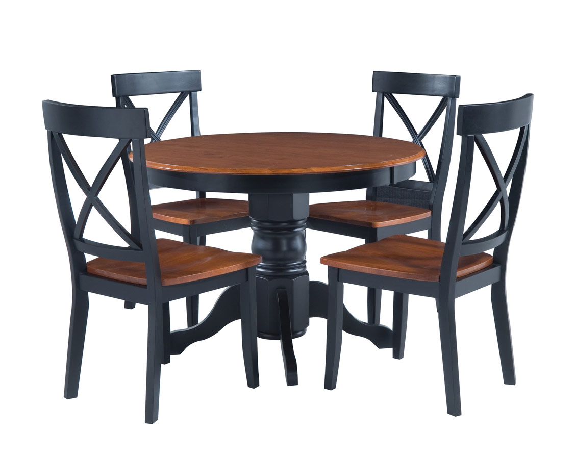 Home Styles Round Pedestal Dining Collection - Black and Cottage Oak