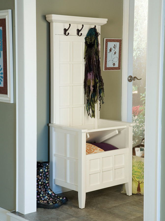 Home Styles Mini Hall Tree And Storage Bench White 88 5646 49 At