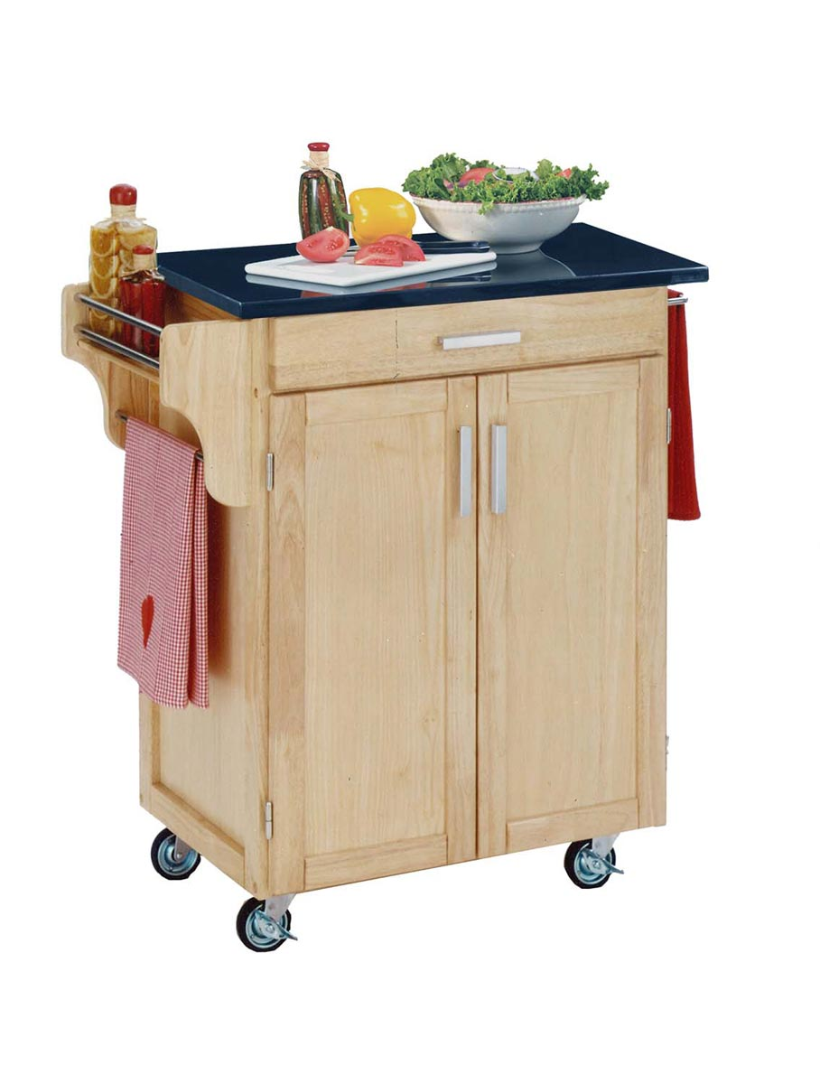 Home Styles Cuisine Cart Black Granite Top - Natural