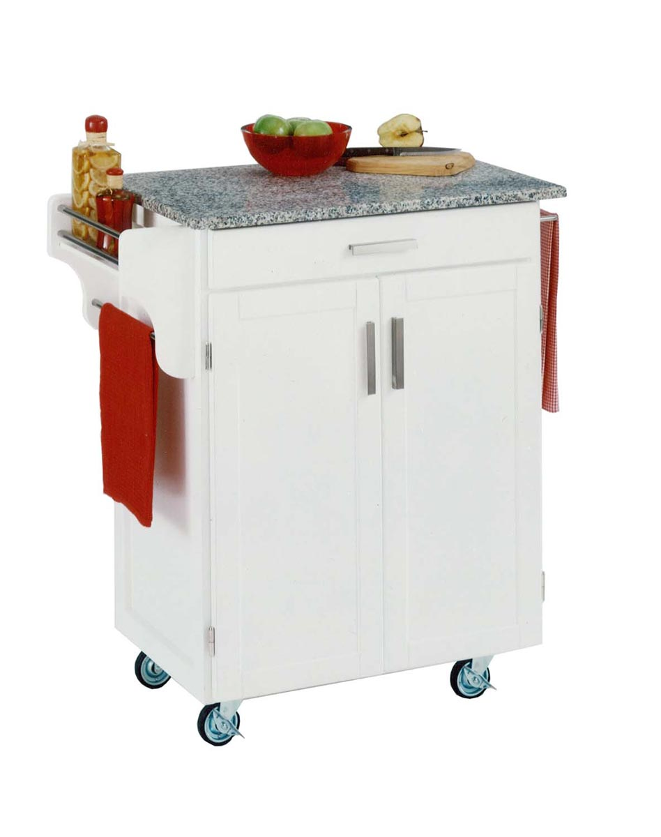 Home Styles Cuisine Cart SP Granite Top - White