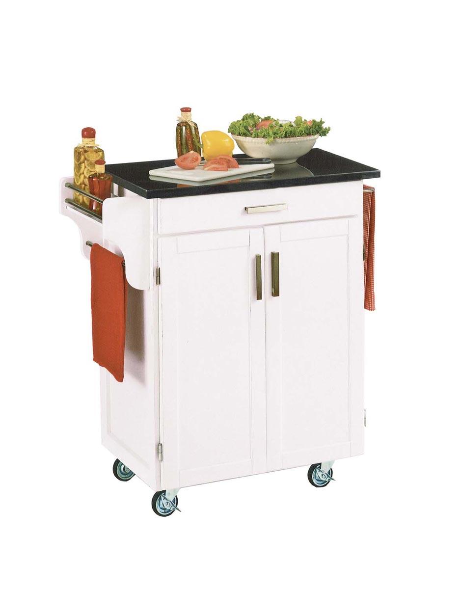 Home Styles Cuisine Cart Black Granite Top - White