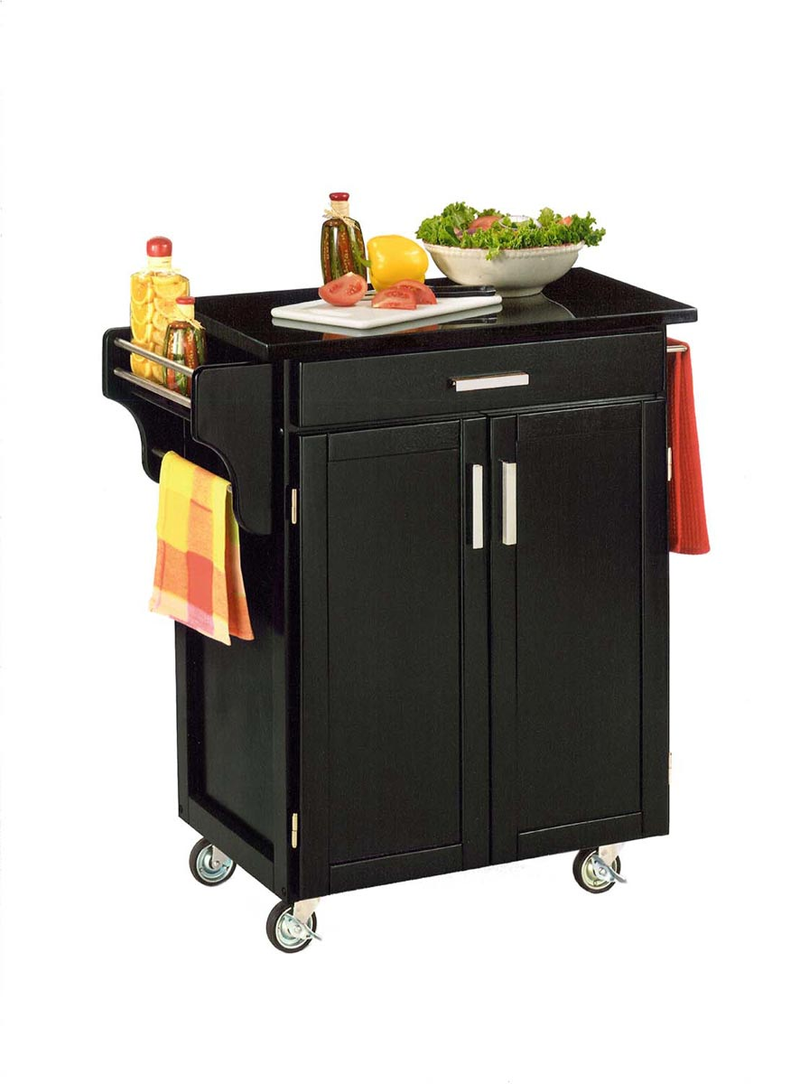 Home Styles Cuisine Cart Black Granite Top - Black