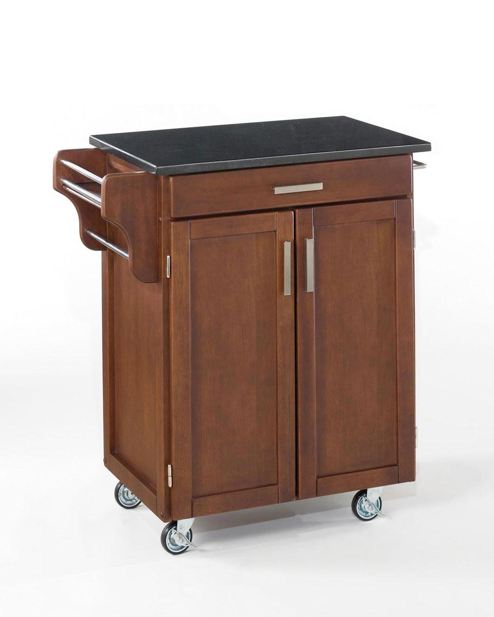 Home Styles Cuisine Cart Black Granite Top - Cherry