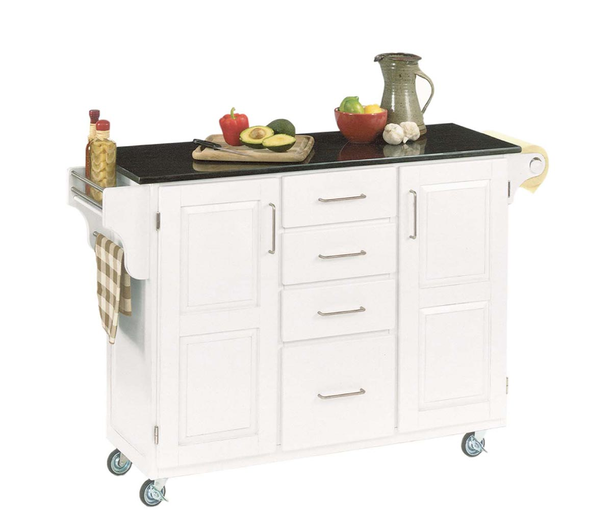 Home Styles Create-A-Cart Black Granite Top - White