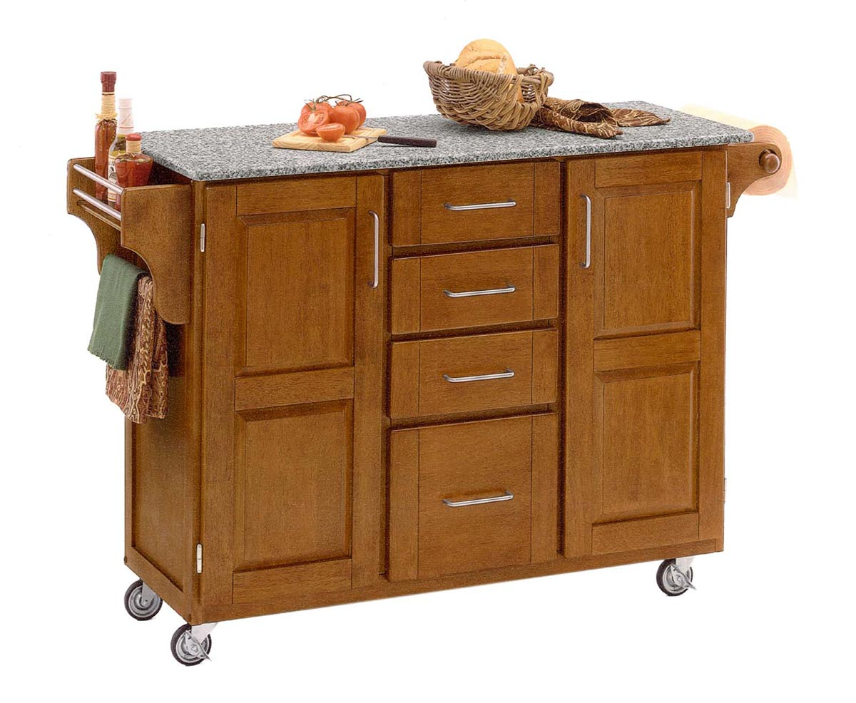 Home Styles Create-A-Cart Warm SP Granite Top - Cottage Oak