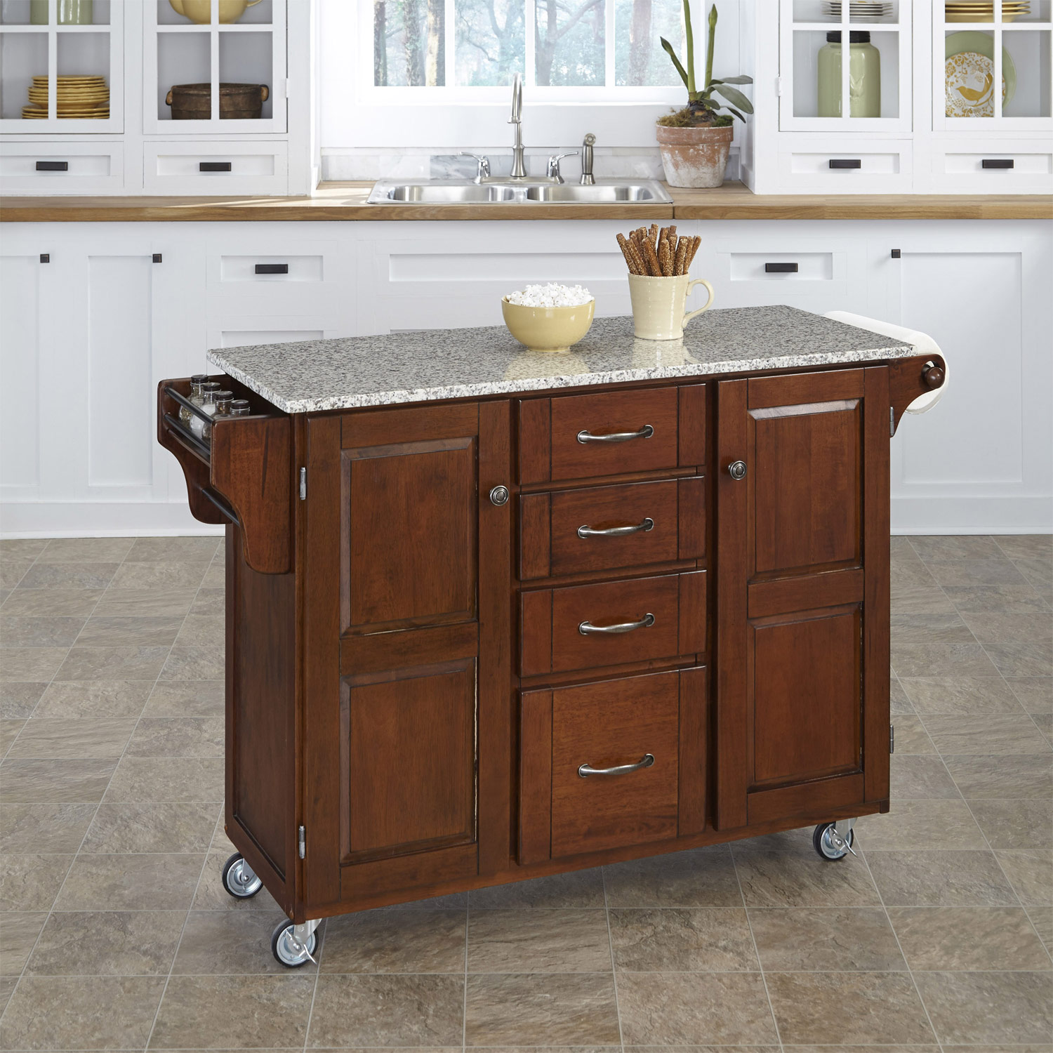 Home Styles Create-A-Cart SP Granite Top - Cherry