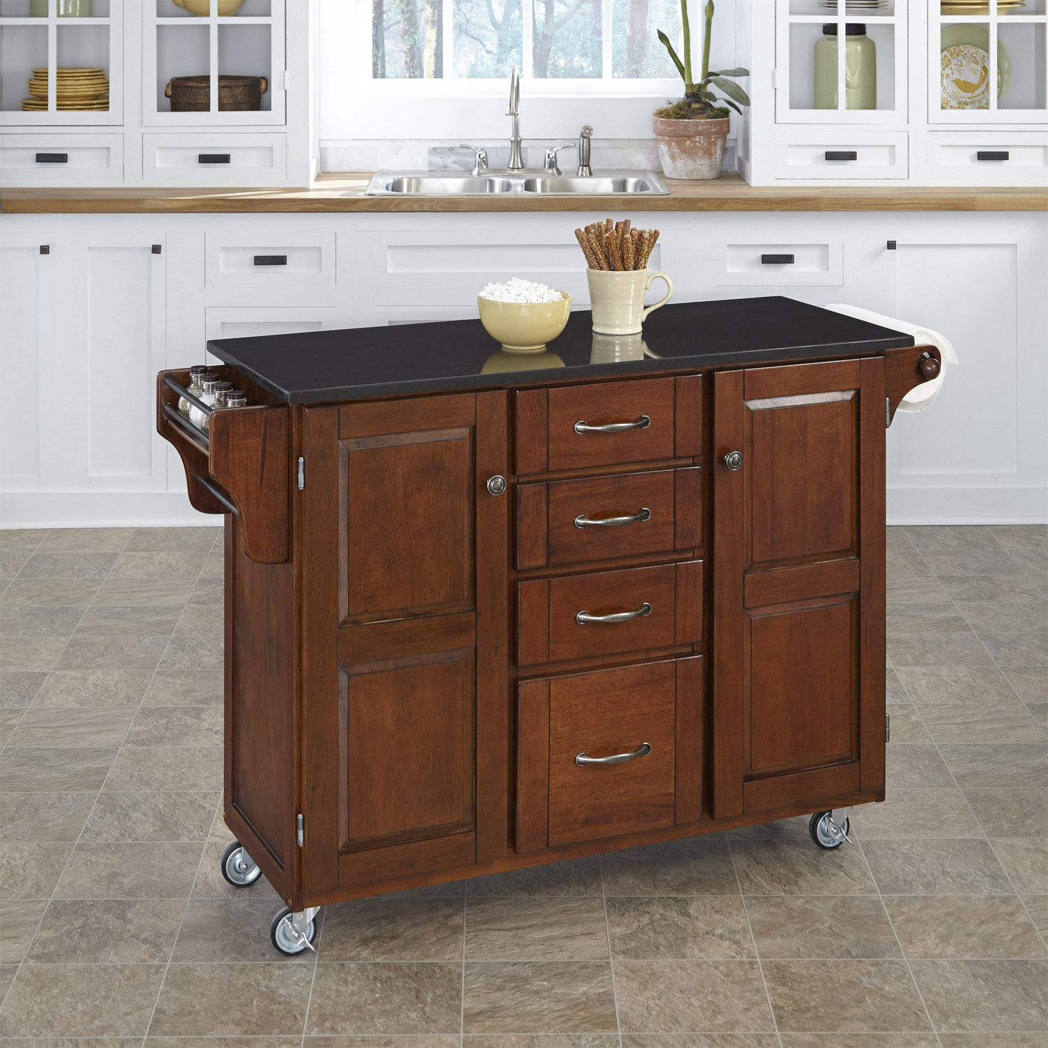 Home Styles Create-A-Cart Black Granite Top - Cherry