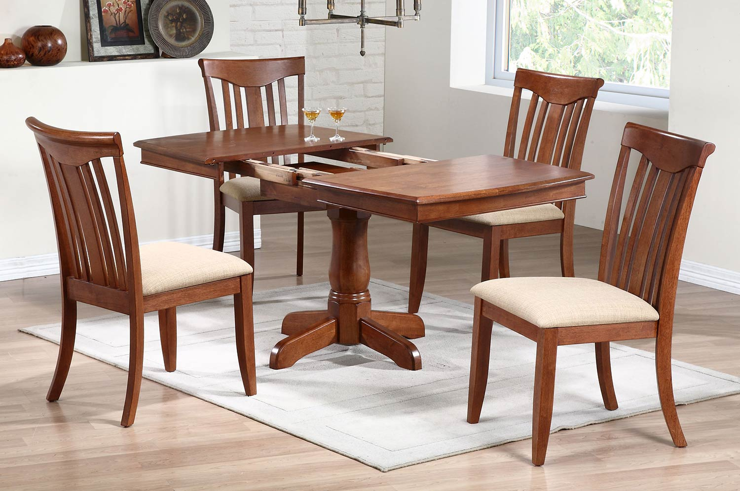 Iconic Furniture Single Pedestal Boat Shaped Dining Set with Modern Slat Back Chair - Cinnamon