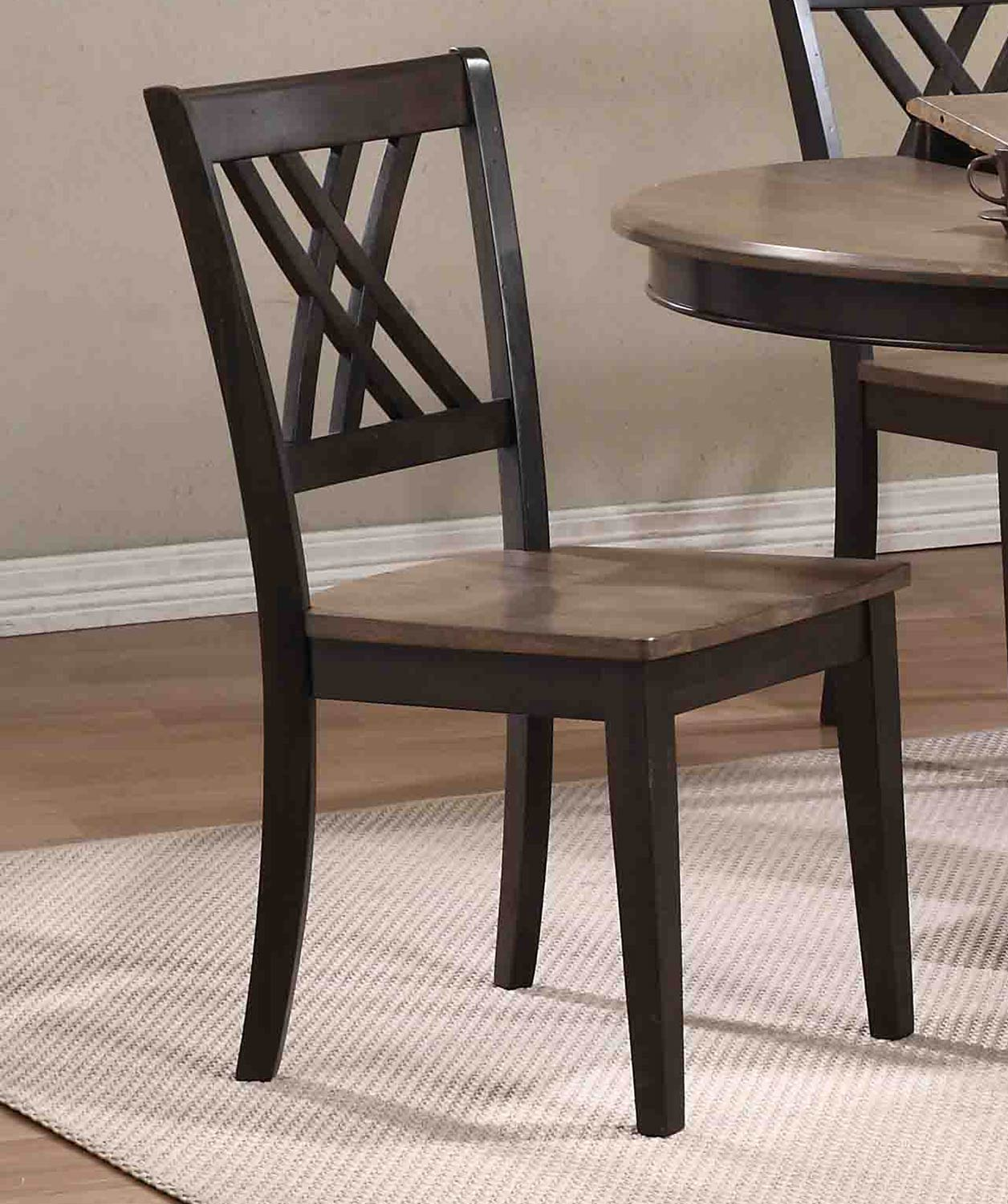 Iconic Furniture Double X-Back Dining Chair - Grey Stone/Black Stone