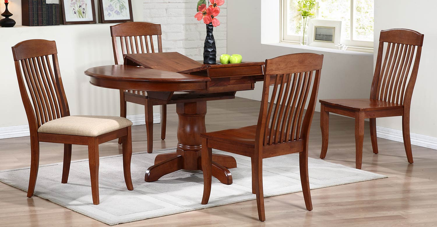 Iconic Furniture Round/Oval Pedestal Dining Set with Contemporary Slat Back Dining Chair - Cinnamon/Cinnamon