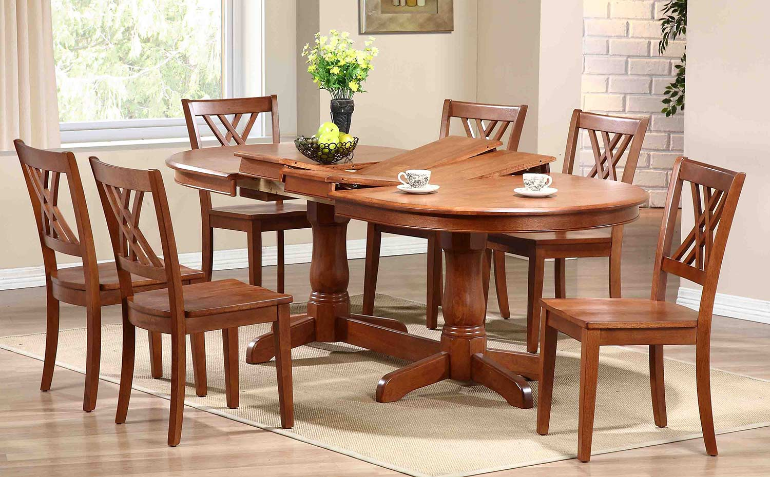 Iconic Furniture Oval Double Pedestal Dining Set with Double X-Back Dining Chair - Cinnamon/Cinnamon