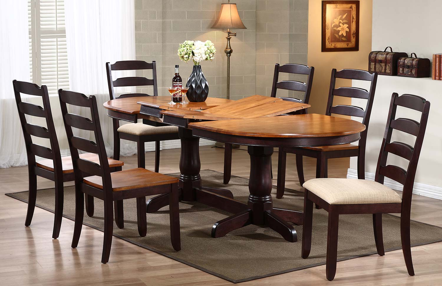 Iconic Furniture Oval Double Pedestal Dining Set with Ladder Back Dining Chair - Whiskey/Mocha