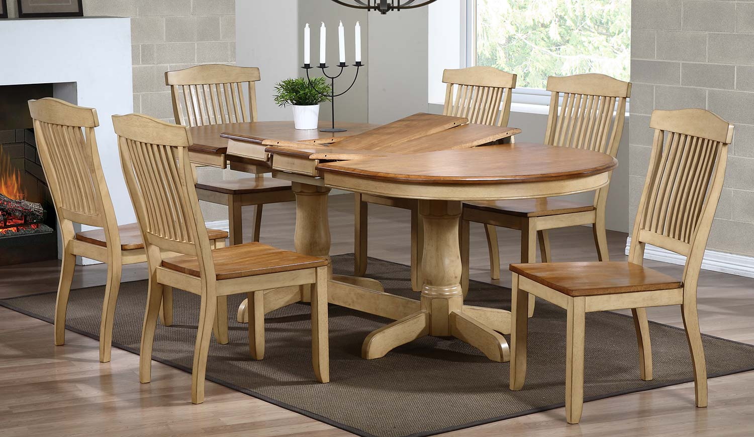 Iconic Furniture Oval Double Pedestal Dining Set with Open Slat Back Dining Chair - Honey/Sand